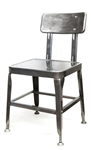Pewter Glossy Robot Frame, Industrial Metal Chair