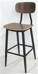 Industrial Bar Stools; w/ Black Walnut Wood Seat