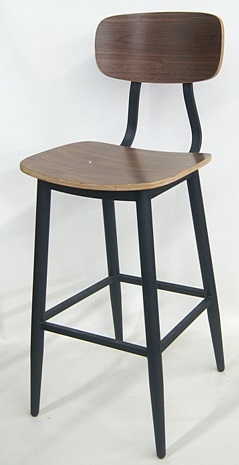 Admirable 02 Modern Black Walnut Industrial Metal Bar Stool Ibusinesslaw Wood Chair Design Ideas Ibusinesslaworg