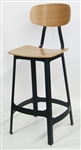 Oak Wood Metal Industrial Dining Bar Stool