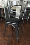 Industrial Metal Chair: Pewter with Black Padded