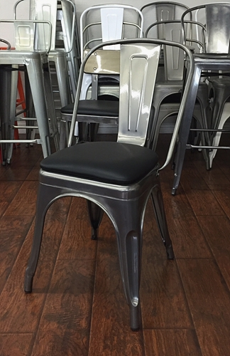 Silver Metal Industrial Chair W Black Padded Seat