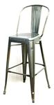 Industrial Bar Stool Seating in Pewter Glossy Finish