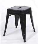 Industrial Metal Bar Stool Backless:  Black Glossy