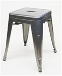 Industrial Metal Bar Stool Backless: Pewter Glossy