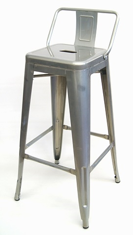 Fantastic 02 7787 Galvanized Silver Bar Stool With Low Back Andrewgaddart Wooden Chair Designs For Living Room Andrewgaddartcom