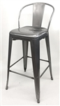 Pewter Industrial Silver Bar Stool Seating