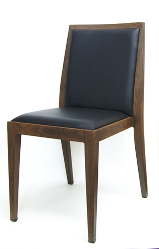 Upholstered Restaurant Wood Grain Metal Dining Chair