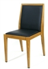 Modern Upholstered Metal Wood Grain Dining Chair