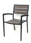 Teak Slat Chair, Weathered Mocha design, with Black Powder Coated Arm Chair Frame