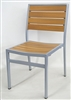 Aluminum Teak Slat - Grey Frame Dining Chair