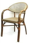 Rattan Arm Chair with performance Mesh Brown/Black weave w/ Rattan Brown Frame