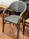 Rattan Bistro Arm chair, powder coated frame,Black Mesh Tweed weave