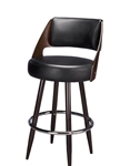 Upholstered Restaurant Metal Bar Stool. Espresso stained back with Metal Legs and thick cushion seat
