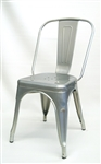 SILVER Galvanized Industrial Restaurant Chair: