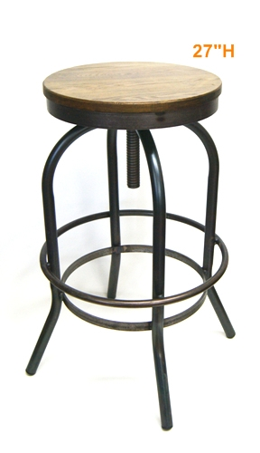 Industrial Adjustable Seat Bar Stool