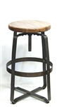 NATURAL Wood Seat Metal Bar Stool with Swivel
