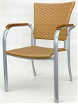 Honey Wicker Teak Arm Dining Chair