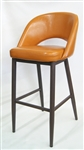 Wood Grain Metal Orange Upholstered Bar Stool