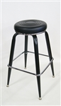 Black Metal Bar Stool Swivel Padded Seat