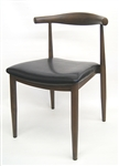 Wood Grain Metal Chair with Floating Back: Walnut