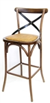 Distressed Bent Wood Grain:  Rustic Farm House Bar Stool