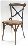 Cross Back Design,Rustic Farm House Metal Chair, Hemp Padded Seat