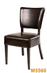 Upholstered Restaurant Dining Metal Wood Grain Chair with Thick Comfortable w Espresso Vinyl Seat