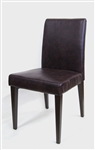 Cognac Metal Wood Upholstered Dining Chair