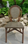 French Bistro chair, dark bamboo powder coated frame,oval back brown/black mesh weave, in stock