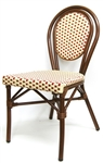 French Rattan Bistro Aluminum Dining Chairs: Creme /Bordeaux