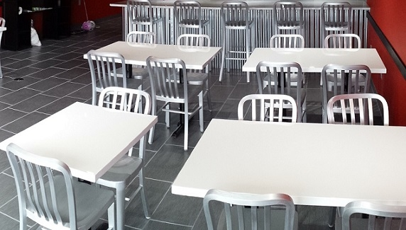 White Resin Restaurant High Gloss Tabletops