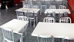 Restaurant Table Tops, White Resin High Gloss Tabletops