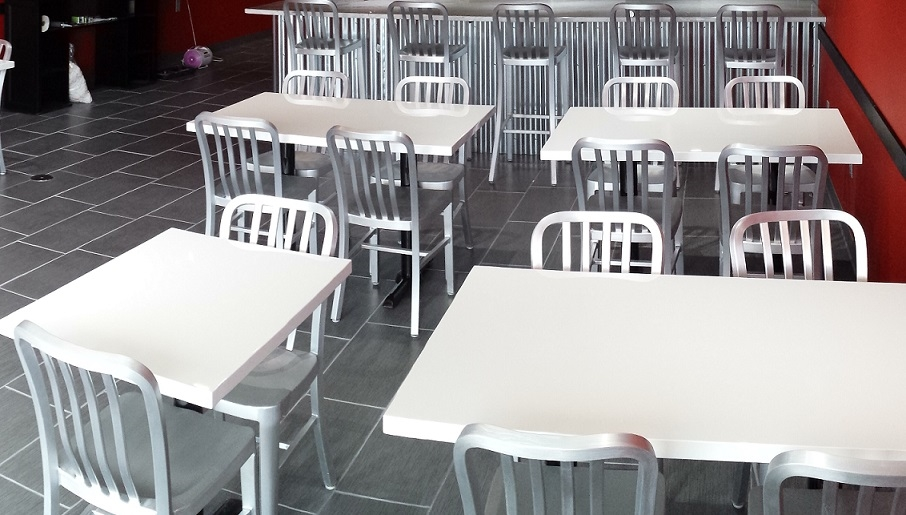 White Glossy Resin Restaurant Tables - Restaurant resin table tops