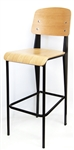 Black Metal Bar Stool with Natural Oak Seat