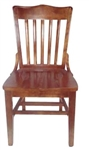 American Educator Wood Dining Chair w Saddle Seat