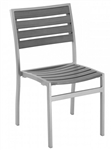 Teak Faux Gray Wood Arm Dining Chair w/ Silver Aluminum Frame or Black Frame