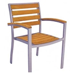 Teak Faux Wood Arm Dining Chair w/ Silver Aluminum Frame or Black Frame