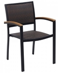 Outdoor Black Frame: Wicker Teak Arm Dining Chair