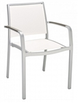 Outdoor Weave Silver Frame Teak Arm Chair
