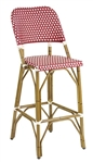 Rattan Bordeaux / Ivory Weave Bar Stools