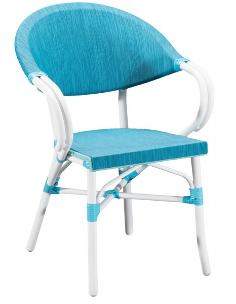 Aqua Mesh Weave with White Rattan Arm Chair
