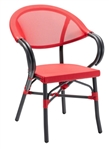 Rattan Bistro Aluminum Arm Chair:  Red Mesh Weave