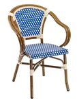 Rattan Bistro Aluminum Arm Chair.  BLUE/Ivory Glossy Weave