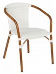 Rattan White Wicker Outdoor Stacking Arm Chair