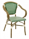 RATTAN BISTRO ALUM. ARM CHAIRS: GREEN/IVORY