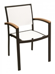 05 Batyline French Mesh Stack-able Arm Restaurant  Dining Chairs