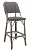 Rattan Bar Stool with Charcoal Mesh Weave