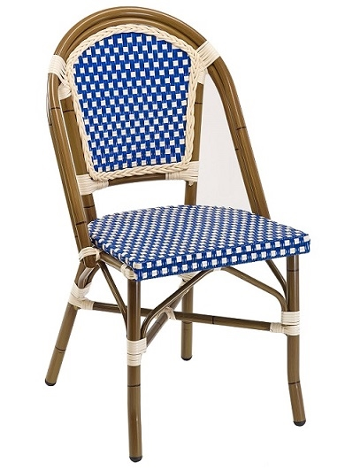 Rattan Aluminum Bistro Chair with Glossy Blue/Ivory weave