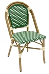 Rattan Bistro Aluminum Chairs Blue/Ivory weave all weather weave
